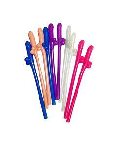 Pajitas con penes 10 uds colores